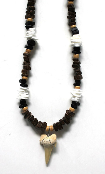 Brown Bead Shark Tooth Necklace