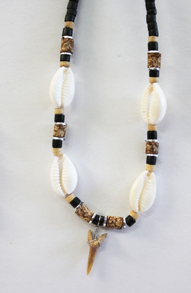 Sliced Cowrie Shell Shark Tooth Necklace
