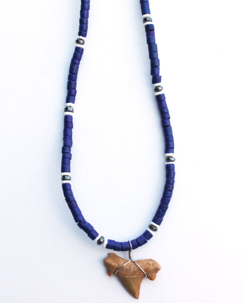Blue Hematite Shark Tooth Necklace