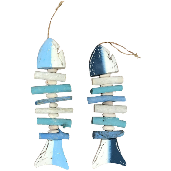 Coastal White & Blue Fish Bone Decor