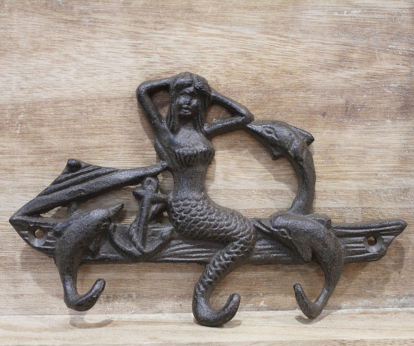 Rust Mermaid Dolphin Key Ring