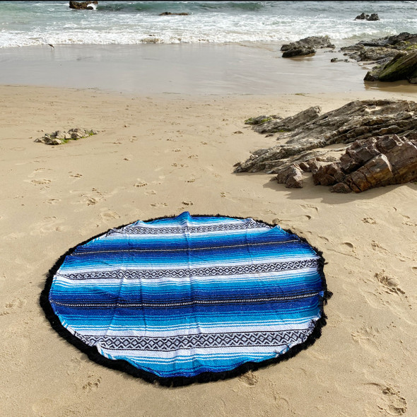 Blue Round Falsa Blanket