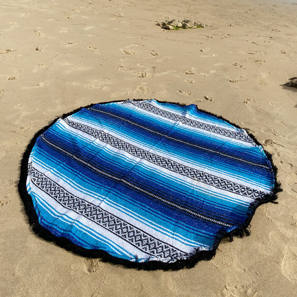 Blue Round Beach Blanket