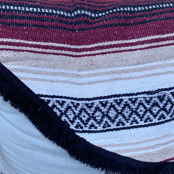 Maroon Round Baja Blanket