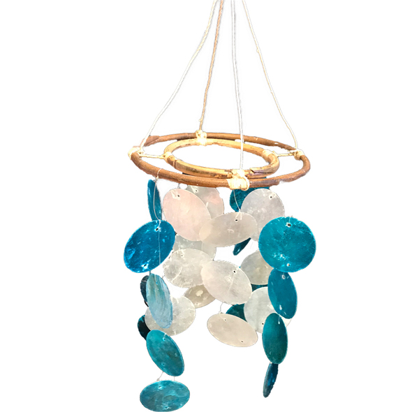 White & Blue Capiz Chandelier Chime