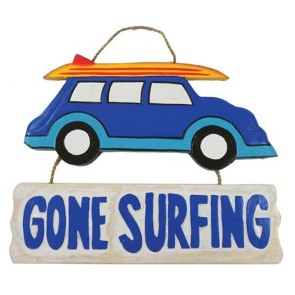 Gone Surfing Woody Sign