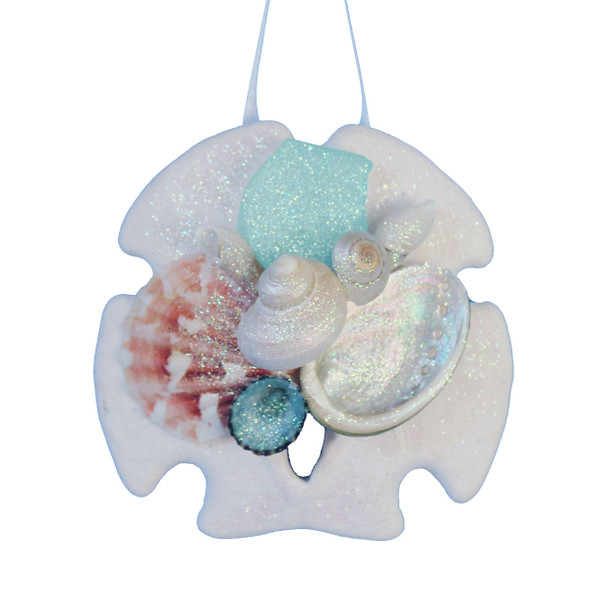 Turquoise Sea Glass Sand Dollar Collage Ornament