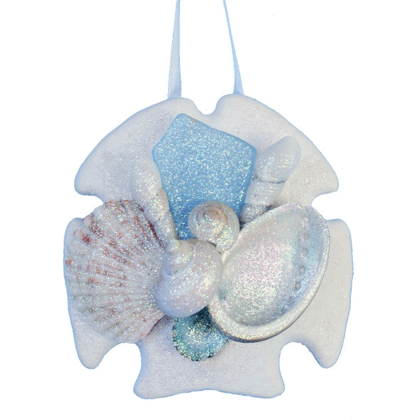 Light Blue Sea Glass Sand Dollar Ornament