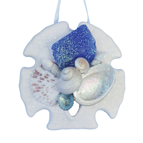 Dark Blue Sea Glass Sand Dollar Collage Ornament