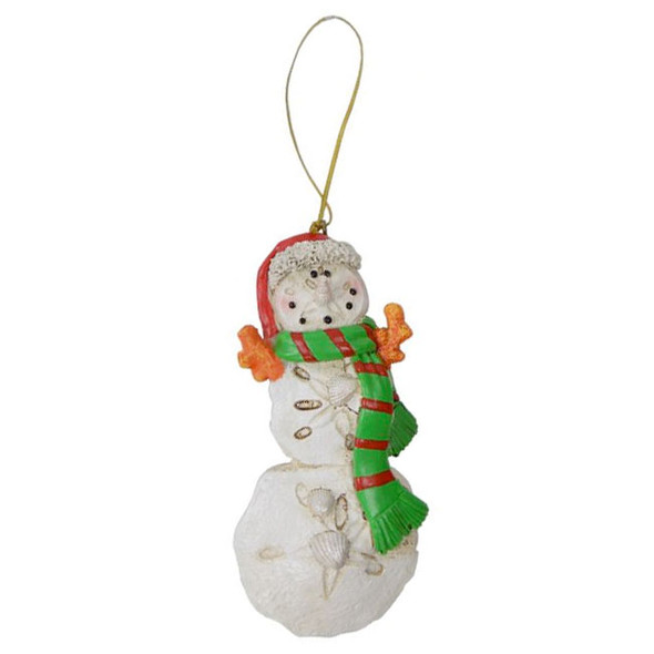 Sand Dollar Snowman Ornament