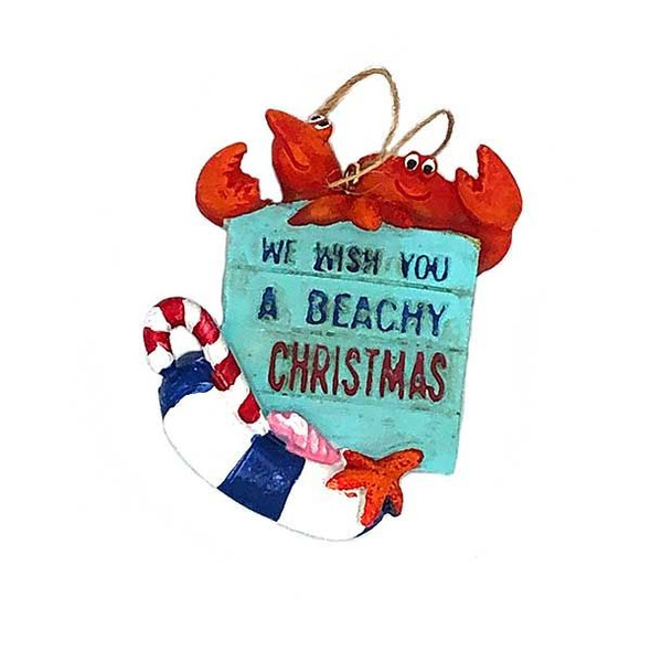 Beachy Christmas Crab & Lobster Ornament