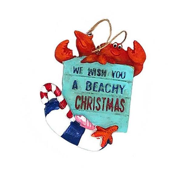 Beachy Christmas Crab & Lobster Ornament