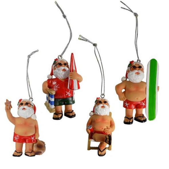 Surfing Santa Ornaments
