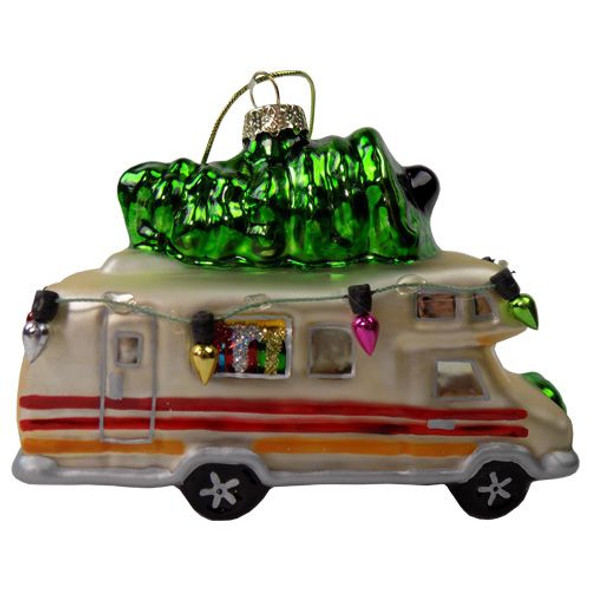 Christmas RV Blown Glass Ornament