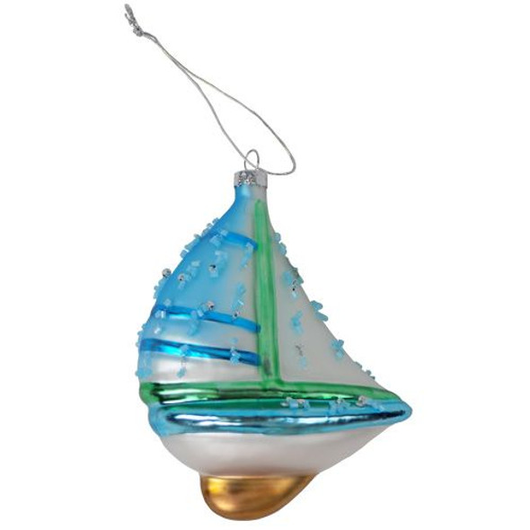 Blown Glass Sailboat Ornament