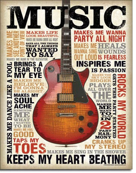 Music Inspires Me Metal Sign