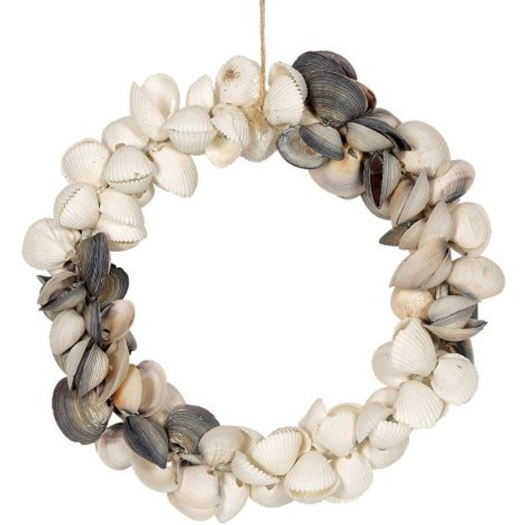 Round Cay Cay & White Clam Shell Wreath