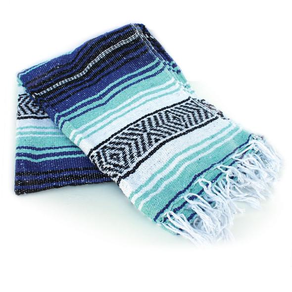 Cobalt & Aqua Mexican Blanket