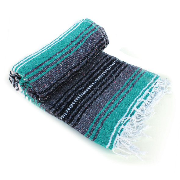 Teal & Gray Mexican Throw