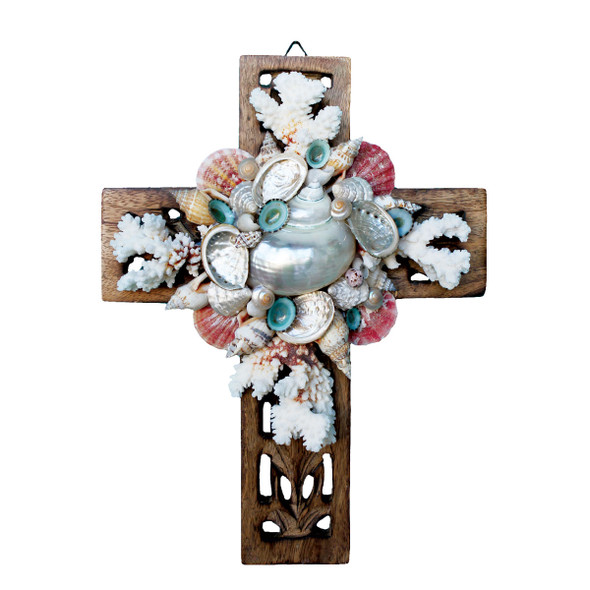 Coral & Shell Collage Cross