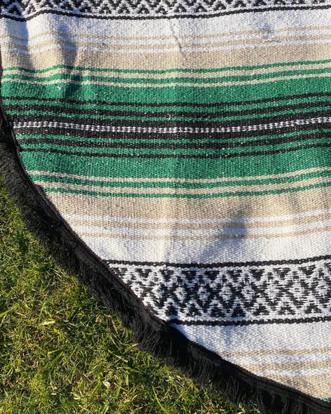 Round Mexican Falsa Blankets - Green & Tan
