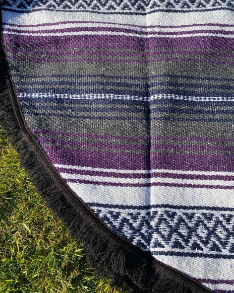 Round Mexican Falsa Blankets - Purple