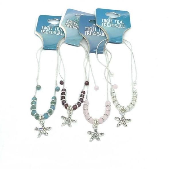 Starfish Crystal Bead Bracelet
