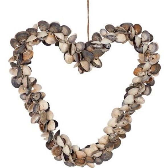 Mixed Cay Cay Shell Heart Wreath