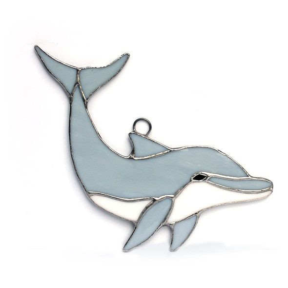 """8"""" Gray Dolphin Stained Glass"""