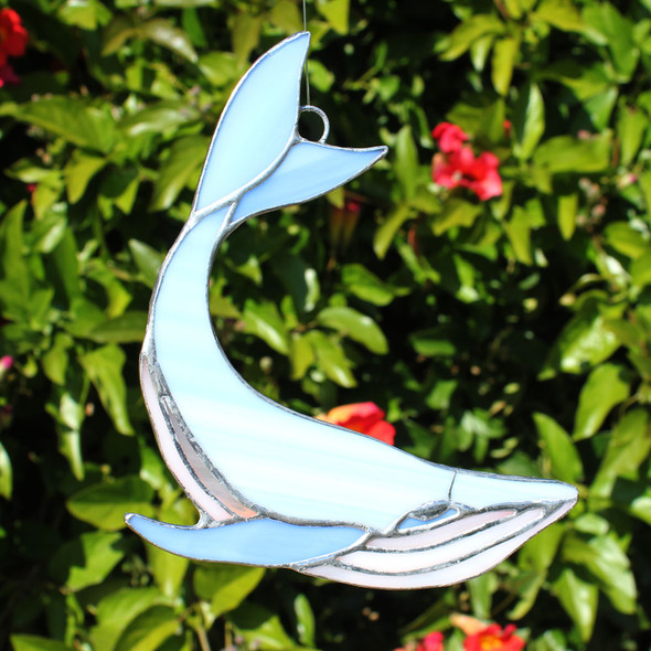 Blue Humpback Whale Stained Glass