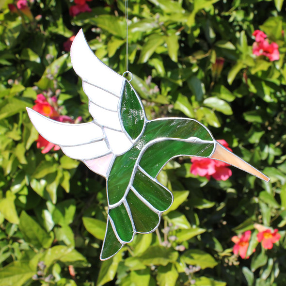 Green Hummingbird Stained Glass
