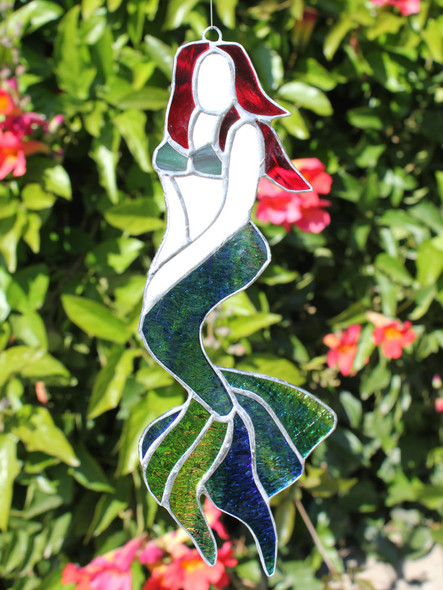 Red Hair Mermaid Stained Glass