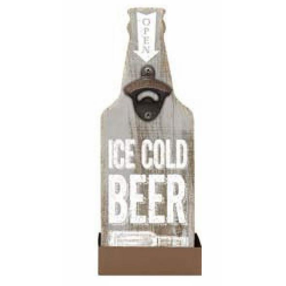 Ice Cold Beer - Bottle Opener Plaque