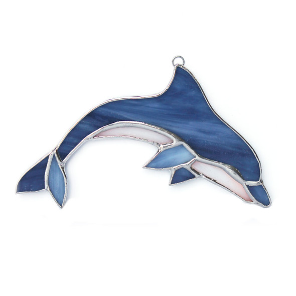 Blue Dolphin Stained Glass