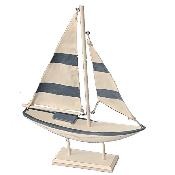 Blue and White Striped Sailboat
