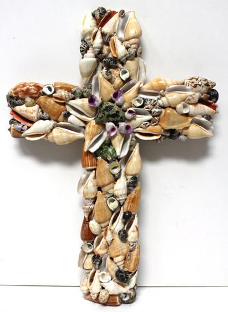 Large Assorted Seashell Cross