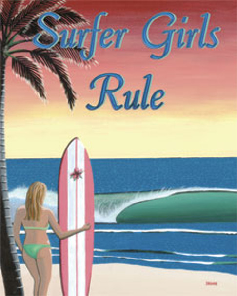 Surfer Girls Rule Metal Sign