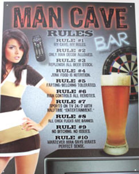 Man Cave Rules! Metal Sign