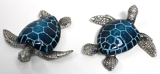 Blue & Silver Turtle Figurine