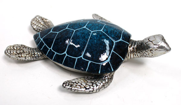 Large Blue & Silver Turtle Figurine
