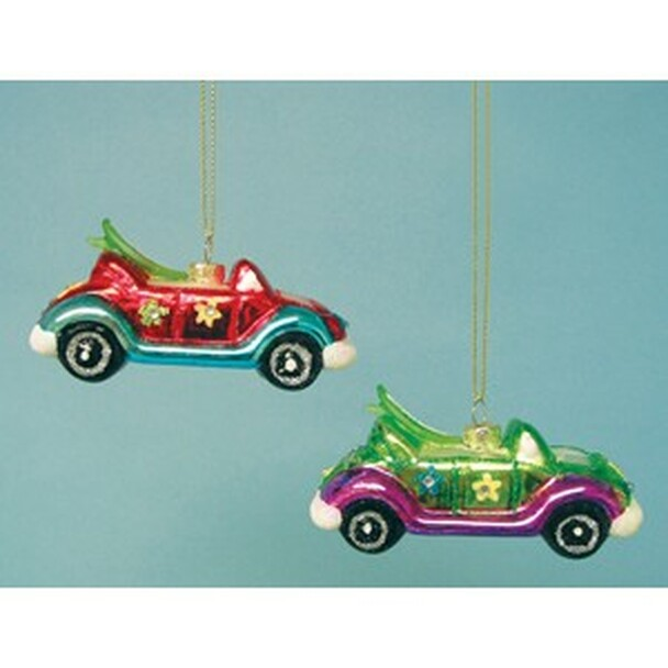 Blown Glass VW Convertible Ornament