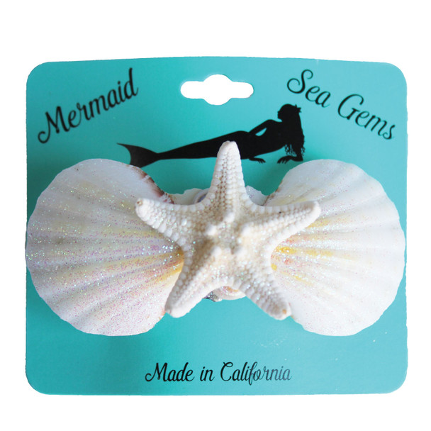 White Bumpy Starfish Hair Clip - Mermaid Sea Gem