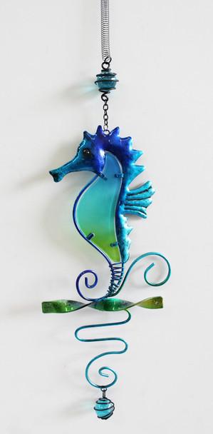 Blue & Green Metal Seahorse Bouncy