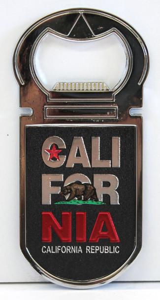 Black California Republic Bottle Opener Magnet