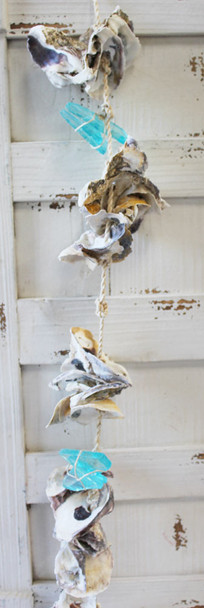 Turquoise Sea Glass and Oyster Shells Garland