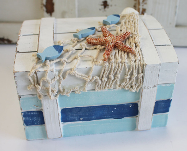White Wood and Blue Chest