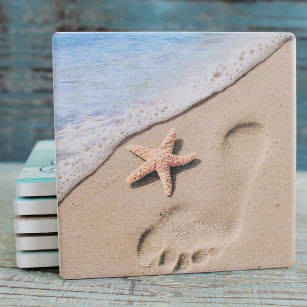 Footprint and Starfish in the Sand