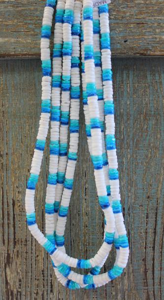 1 Dozen White & Blue Puka Necklaces