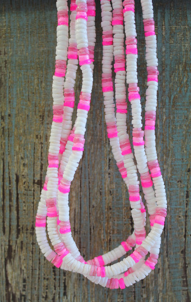 White Puka Shell with Pink Chip Necklaces