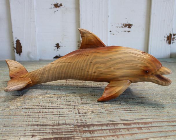 Wood Finish Dolphin Figure